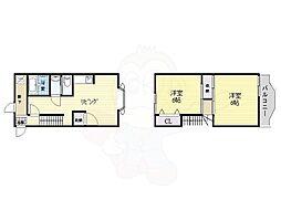 シマナカハイツ39 2階2DKの間取り