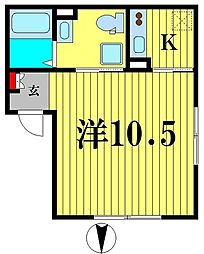 JR総武線 錦糸町駅 徒歩9分の賃貸マンション 3階1Kの間取り