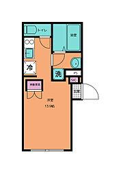 エルフローラ三軒茶屋 2階1Kの間取り