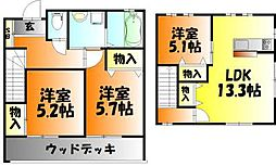 [タウンハウス] 岡山県岡山市中区関 の賃貸【/】の間取り