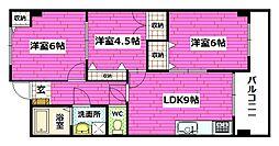 広島県安芸郡熊野町中溝5丁目の賃貸マンションの間取り