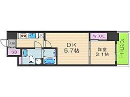 SERENITE福島scelto 4階2Kの間取り