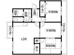 徳島県徳島市南二軒屋町3丁目の賃貸マンションの間取り