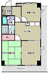 神奈川県横須賀市上町3丁目の賃貸マンションの間取り