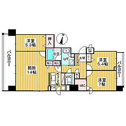 円山ザ・レジデンス 5階3LDKの間取り
