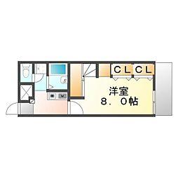 広島県福山市神辺町字平野の賃貸アパートの間取り