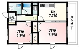 Osaka Metro御堂筋線 東三国駅 徒歩15分の賃貸マンション 4階2DKの間取り