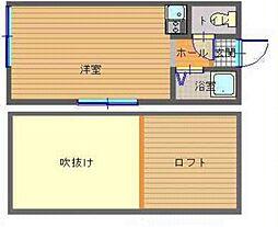 JR長崎本線 道ノ尾駅 徒歩6分の賃貸アパート 2階ワンルームの間取り