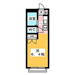 コーポKARUGAMO 2階ワンルームの間取り