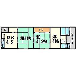 兵庫県尼崎市稲葉元町2丁目の賃貸アパートの間取り