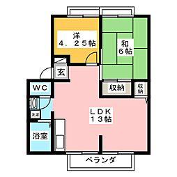 三重県伊賀市平野北谷の賃貸アパートの間取り