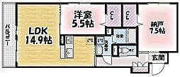 シャーメゾン鍋島[202号室]の間取り