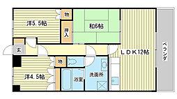 兵庫県姫路市飾磨区英賀春日町1丁目の賃貸マンションの間取り