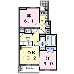 徳島県徳島市国府町南岩延の賃貸アパートの間取り