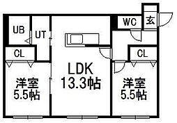 北海道札幌市豊平区美園五条2丁目の賃貸マンションの間取り
