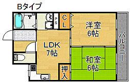 新住之江マンション[4階]の間取り