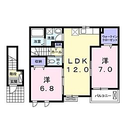 JR中央本線 上諏訪駅 徒歩26分の賃貸アパート 2階2LDKの間取り