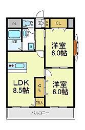 タカツマンション[4階]の間取り