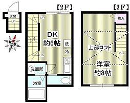 京王井の頭線 永福町駅 徒歩2分の賃貸アパート 2階1DKの間取り
