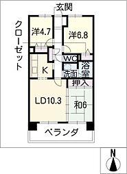 サンコート桃花台 D棟[6階]の間取り