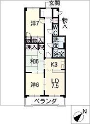 フレスカ稲垣[3階]の間取り