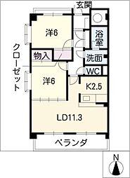 グランディール中京[3階]の間取り