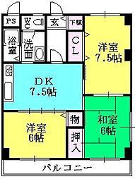 シェモア津門[201号室]の間取り