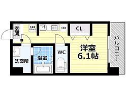 Osaka Metro四つ橋線 肥後橋駅 徒歩5分の賃貸マンション 6階1Kの間取り