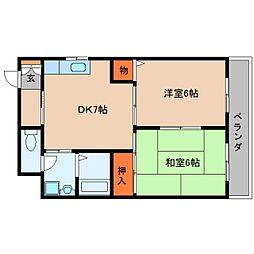 近鉄大阪線 桜井駅 徒歩6分の賃貸マンション 4階2DKの間取り