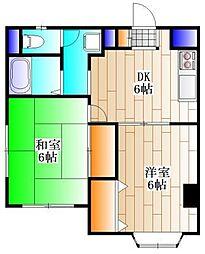 岩澤フラッツ 1階2DKの間取り