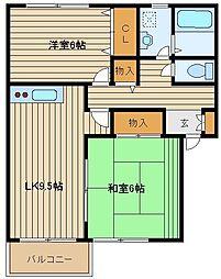 東京都西東京市東町6の賃貸アパートの間取り