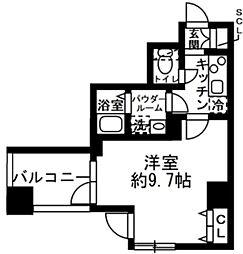 都営浅草線 人形町駅 徒歩10分の賃貸マンション 4階1Kの間取り