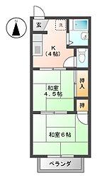 フォーブル堀江II[2階]の間取り