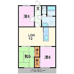 静岡県三島市富田町の賃貸マンションの間取り