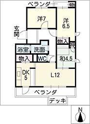 グランデ亀の井[1階]の間取り