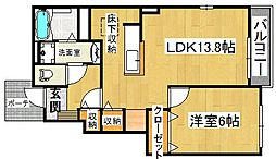 大阪府大東市御供田3丁目の賃貸アパートの間取り