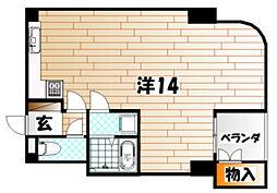 福岡県北九州市戸畑区沖台2の賃貸マンションの間取り