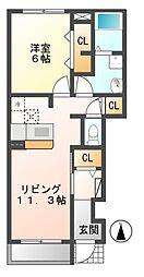 岐阜県美濃加茂市下米田町則光の賃貸アパートの間取り