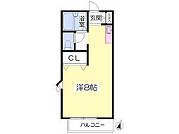 JR豊肥本線 新水前寺駅 バス28分 託麻団地入口下車 徒歩4分の賃貸アパート 2階ワンルームの間取り