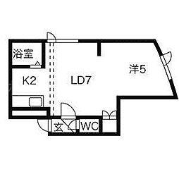 北海道札幌市中央区北三条西24丁目の賃貸アパートの間取り