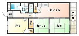 大阪府寝屋川市高柳2丁目の賃貸マンションの間取り