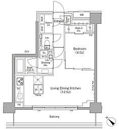 東京メトロ有楽町線 月島駅 徒歩1分の賃貸マンション 6階1LDKの間取り