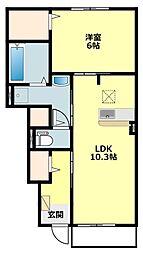 JR東海道本線 三ヶ根駅 徒歩11分の賃貸アパート 1階1LDKの間取り