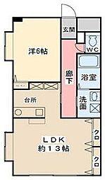 福岡県久留米市小森野2丁目の賃貸アパートの間取り