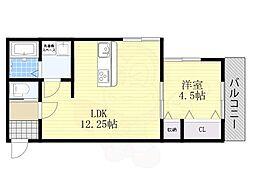 JR阪和線 堺市駅 徒歩6分の賃貸アパート 2階1LDKの間取り
