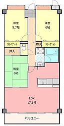 大阪府八尾市刑部4丁目の賃貸マンションの間取り