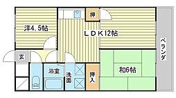 岡町中村コーポ[406号室]の間取り