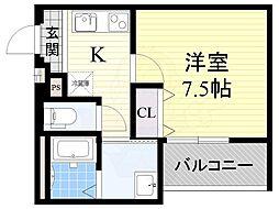 フジパレス東淀川3番館 3階1Kの間取り