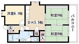 愛知県名古屋市瑞穂区白砂町1丁目の賃貸マンションの間取り