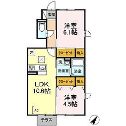 京急久里浜線 京急久里浜駅 徒歩26分の賃貸アパート 1階2LDKの間取り